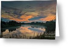 Dramatic Sunset Over The Misty River Greeting Card