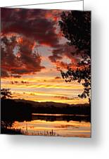 Dramatic Sunset Reflection Greeting Card