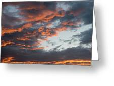 Dramatic Sunset Sky With Orange Cloud Colors Greeting Card