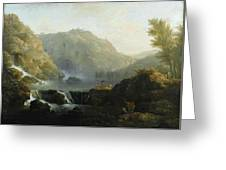 Draughtsmen In Front Of A Waterfall Greeting Card