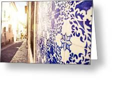 Drawing Tiles On Bairro Alto Walls In Lisbon Greeting Card