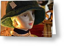 Dream Girl With Hat And Pearls Greeting Card