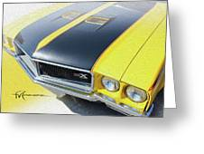Streakin' Yellow Buick Greeting Card