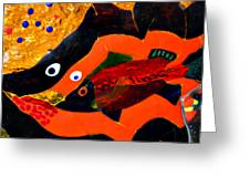 Dreamtime Barramundi Detail Greeting Card by Sarah King