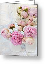 Dreamy Shabby Chic Romantic Peonies - Garden Peonies White Mason Jars Greeting Card