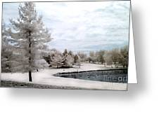 Dreamy Surreal Infrared Pond Landscape Nature Scene  Greeting Card
