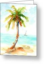 Dreamy Tropical Beach Palm Greeting Card