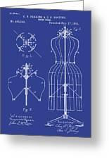 Dress Form Patent 1891 Blue Greeting Card