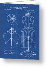Dress Form Patent 1891 Blueprint Greeting Card
