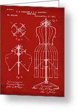 Dress Form Patent 1891 Red Greeting Card