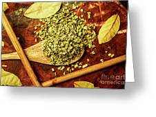 Dried Chives In Wooden Spoon Greeting Card