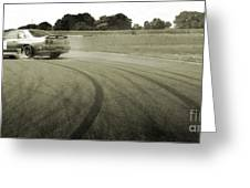 Drifting Tracks Japanese Car Drifting Round A Corner With Tyres Smoking Greeting Card