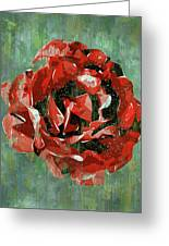 Dripping Poster Rose On Green Greeting Card