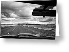 driving along the ring road Hringvegur in southern iceland Greeting Card