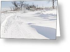 Driving In Drifting Snow Greeting Card