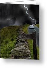 Driving Into The Storm Greeting Card