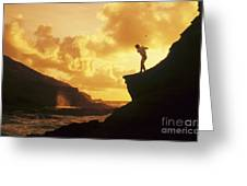 Driving Off A Cliff Greeting Card