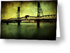 Driving Over The Bridge Greeting Card