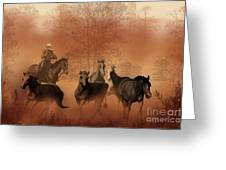 Driving The Herd Greeting Card by Corey Ford