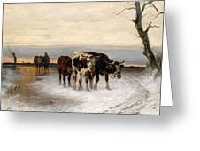 Driving The Herd Home In Wintry Landscape Greeting Card