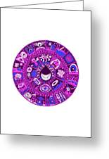 Drop Mandala Purple And Blue Greeting Card