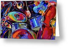 Drums And Friends Greeting Card by Debra Hurd