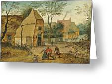 Drunkard Being Taken Home From The Tavern By His Wife Greeting Card