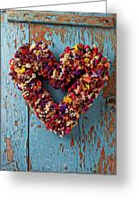 Dry Flower Wreath On Blue Door Greeting Card by Garry Gay