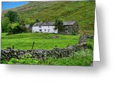 Dry Stone Wall And White Cottage - P4a16022 Greeting Card