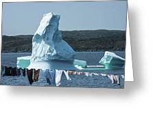 Drying Clothes In Ice Berg Alley Greeting Card