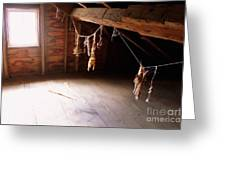 Drying Herbs In Attic Greeting Card