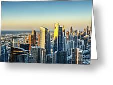 Dubai Towers At Sunset. Greeting Card