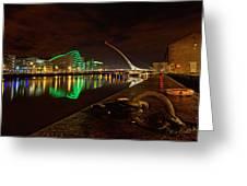 Dublin's Samuel Beckett Bridge At Night Greeting Card
