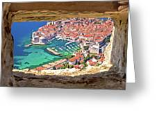 Dubrovnik Historic City And Harbor Aerial View Through Stone Win Greeting Card