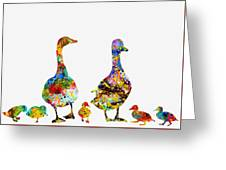 Duck Family-colorful Greeting Card