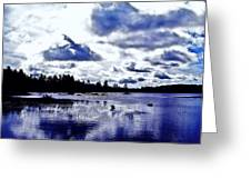 Duck Soars Little Togus Pond Storm Clouds Augusta Greeting Card