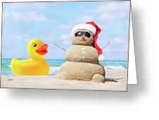 Ducky And Santa At The Beach Greeting Card