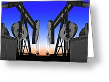Dueling Oil Well Pumps Greeting Card