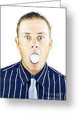 Dumbfounded Man Silenced By A Golf Ball Greeting Card