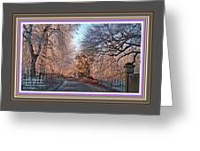Dundalk Avenue In Winter. L A With Alt. Decorative Printed Frame. Greeting Card