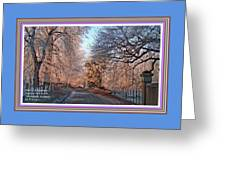 Dundalk Avenue In Winter. L A With Decorative Ornate Printed Frame. Greeting Card