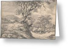 Dune Landscape With Oak Tree Greeting Card