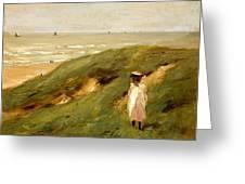 Dune Near Noordwijk With Child Greeting Card