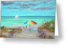 Dunes Beach Colorful Umbrella Greeting Card