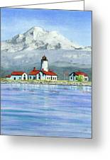 Dungeness Lighthouse With Mount Baker Greeting Card