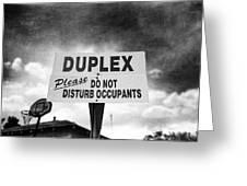 Duplex Yard Sign Stormy Sky In Bw Greeting Card