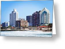 Durban Skyline From Bay Of Plenty Greeting Card by Jeremy Hayden