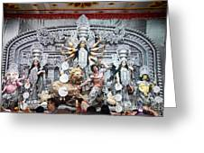 Durga Idol At Puja Pandal Durga Puja Festival Greeting Card