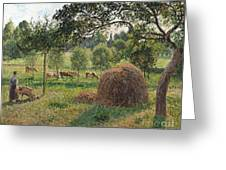 Dusk At Eragny Greeting Card by Camille Pissarro