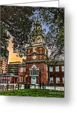 Dusk At Independence Hall Greeting Card